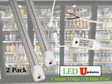 2x V shape 5ft walk in cooler LED light tube with driver built-in hard wire AC