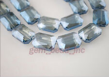 10pcs Blue Transparent Glass Crystal Rectangle Beads 18x12mm Spacer Findings