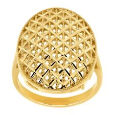 Eternity Gold Beaded Checkerboard Oval Ring in 10K Gold