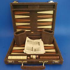 Backgammon Set Corduroy Folding Travel Case, PreOwned RARE Vintage