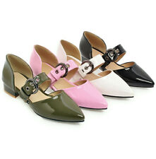 Korean Loafers Pointed-Toe Ladys Shiny-Leather Buckle Halbschuhe Damen Flats