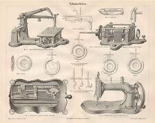 B6493 Macchine da Cucire - Incisione antica 1890 - Engraving