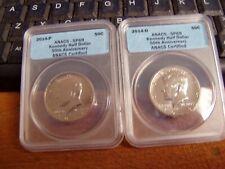 2014 P&D Kennedy Half Dollar 50th Anniversary 2 Coin Set,Anacs Graded Sp69