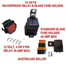 WATERPROOF RELAY & BLADE FUSE HOLDER 40 AMP 10 SETS AUTOMOTIVE MARINE ELECTRICAL