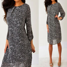 01984e87b5c2d H&M Black Cream White Chiffon 3/4 Sleeve Flowy Shift Dress 14 L Large