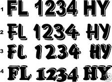 PWC Boat Registration Numbers Lettering Vinyl Decal