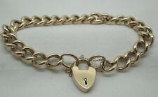 Victorian 1878   9ct Rose Gold Ladies / Gents Curb Link Bracelet & Heart Padlock