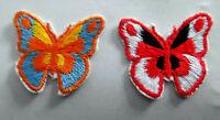 SET á 2 Stück Schmetterlinge Aufnäher Patch Butterfly Flower Power