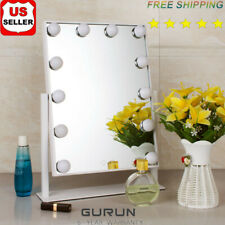 12 Bulbs Hollywood Lighted Vanity Dimmable Tabletop Makeup Mirrors Touch Screen