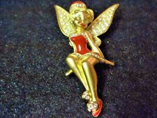 Swarovski Disney Swan Signed Tinker Bell Brooch Rare and Hard to Find 229