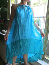RAGAZZE/LONG TURQUOISE, BEADED, HALTER NECK,3/4 ASSYMETRICAL COCKTAIL DRESS