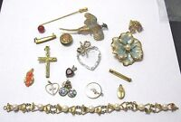 JEWELRY LOT 16 PIECES GOLD FILLED STERLING vintage antique  #7 5/11 51 GRAMS