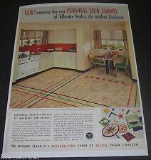 Print Ad 1937 FLOORING Personalized Sealex Inlaid Linoleum Kitchen Home Decor