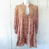 New Angie Top 2X Pink Floral Boho Peasant Crochet Plus Size Cottagecore