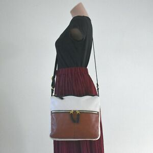 Fossil Brown & White Square Leather Crossbody Shoulder Bag