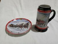 Vintage Budweiser Beer Plate & Stein Clydesdale Horses Holiday Winter Christmas