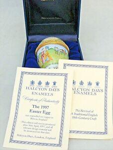 HALCYON DAYS Bilston 1997 EASTER EGG Enamel Trinket Box - Boxed & Certificate