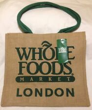 Whole Foods London Jute Tote Bag Burlap Green Brown UK Reuse England Sturdy New