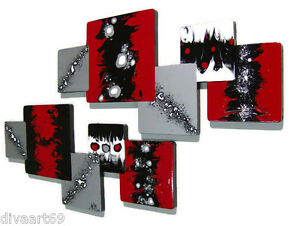 Hot Red n black abstract art wall sculpture hangings - Unique wall decor wood