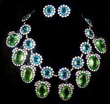 KJL KENNETH J. LANE Treasures of the Duchess Aqua Peridot Diamante Necklace ER's