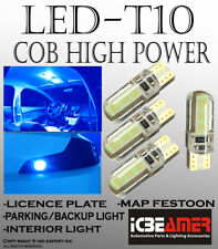 2 pair T10 COB LED Ice Blue Silicon Protected Direct Plugin Map Light Lamps G502