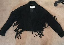 80'S FRINGE JACKET CHIA BLACK LEATHER SUEDE DEEP V ROCKER CHIC METAL LADY'S M