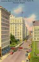 Portland Oregon view of Fifth Street Taylor St Linen Postcard Unposted Vintage
