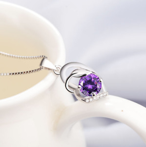 Sterling Silver Leaf Amethyst Heart CZ Pendant Chain Necklace Christmas Gift L11