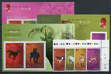 Hongkong 1063/66 Block 110/12 postfrisch / Neujahr - Ziege .................2/49