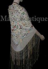 "Maya Matazaro Flamenco Embroidered Silk Piano Shawl Wrap Fringed Scarf Beige 84"""