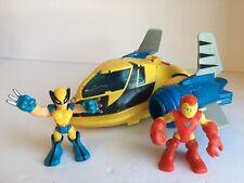 Playskool Marvel Super Hero Adventure Rescue Jet Wolverine Iron Man Figure