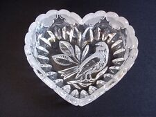 Hofbauer Byrdes crystal candy nut dish bowl heart shaped bird frosted hearts