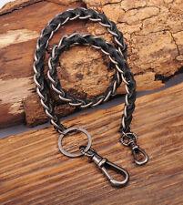 C49 Black Braided Leather & Metal Rocker Biker Jean Keychains Key Wallet Chain