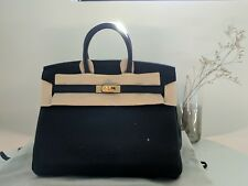 BNIB Hermes Birkin 25 Handbag Togo leather Noir Black GHW gold hardware