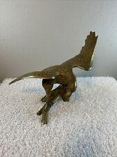 """Vintage Cast Brass Bald Eagle Branch Statue Large 16"""" Wide 13"""" Tall America USA"""