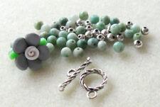 Polymer Clay Flower Bead Jade Gemstone Beads Green Gray Silver Pewter Bracelet