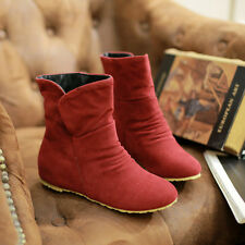 Womens Ankle Boots Shoes Soft Nap PU Stiletto Korean Style Black Brown Red Beige