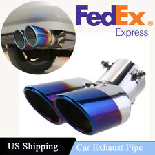 63mm Car Dual Pipe Tip Exhaust  Stainless Steel Tail Throat Muffler US Shipping