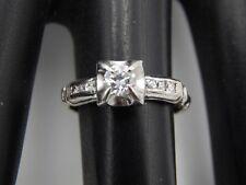 European Cut & Rose Cut Princess Diamond Ring .41 tcw D/VVS ART DECO Platinum