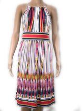 London Times Dress Size 6 Multi Color Stripe High Slit Neck Midi Sleeveless