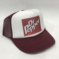 Dr Pepper Soda Pop Trucker Hat Vintage 80's Mesh Back Snapback Cap! Maroon Logo