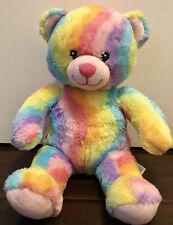 "Build a Bear Cute Colorful Rainbow Tie Die Waves Bear 17"" Plush Toy"