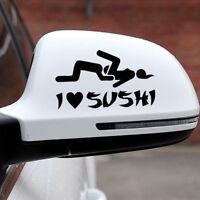 1* 12*6 cm DIY I Love Sushi Decal Funny Car Auto Truck PET Sticker Window Decal