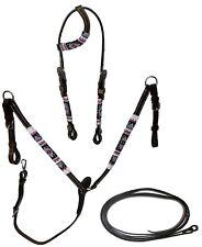 Equitem Dark Oil  Leather Headstall BreastCollar Set Pink & Teal Beaded Wrap