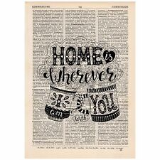 Home Is Wherever i am with you Dictionary Art Print OOAK, Art, Inspirational