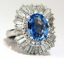 GIA Certified 6.35ct Natural Blue Sapphire Diamonds Ballerina Ring Platinum