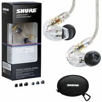 NEW! Shure SE215-CL Sound-Isolating In-Ear Stereo Earphones Headphones (Clear)