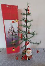 """18"""" Vtg Christmas Musical Rotating Feather Style Xmas Tree & Ornaments Tabletop"""