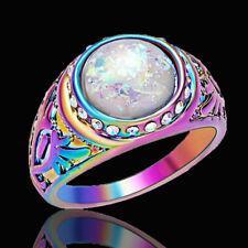 Elegant Women Jewelry White Opal Jewelry Rainbow Rhodium Plated Ring Size 7