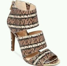 High (3 in. and Up) Leather Animal Print Strappy Heels for Women